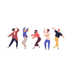 set dancing people having fun isolated on white vector image