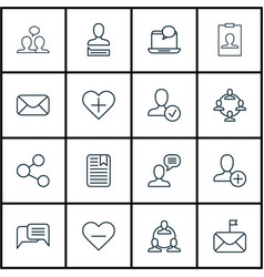 Set of 16 communication icons includes vector
