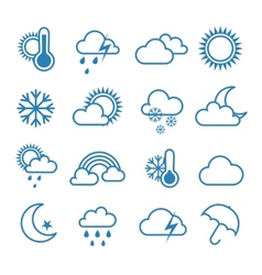 Set of outline weather icons vector image