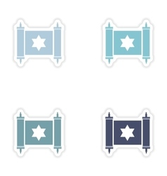 Set of paper stickers on white background scroll vector