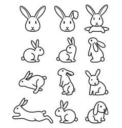 set rabbit bunny icons vector image