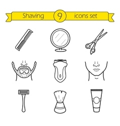 Shaving linear icons set vector