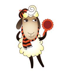 sheep with mirror icon cartoon style vector image