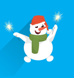 snowman wear red hat hold wrapped gift box present vector image