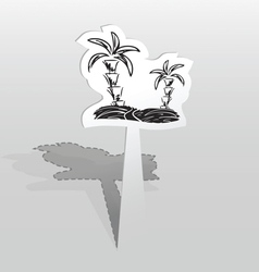 Sticker with two palms vector image