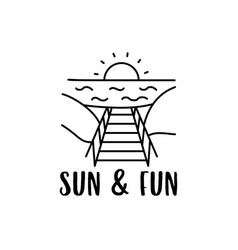 summer vacation concept design with sunset vector image