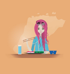 sushi restaurant girl eats vector image