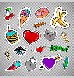 sweet quirky badges on transparent background vector image