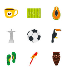 Symbols of brasil icon set flat style vector
