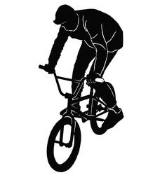 Teenager riding a BMX bicycle vector