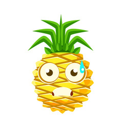 terrified pineapple face cute cartoon emoji vector image