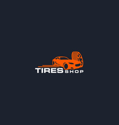 tires shop logo design template silhouette sport vector image