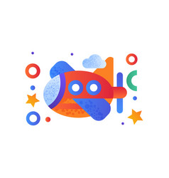 Toy plane cute colorful air vehicle vector