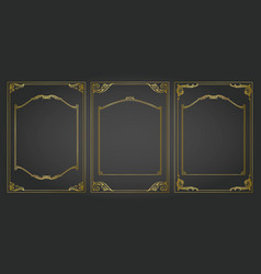 Vertical frames and borders set decorativ gold vector