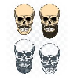 vintage bearded skulls set vector image
