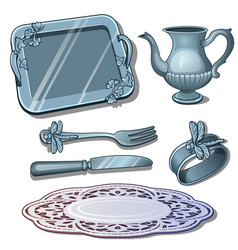 Vintage silver tableware antique luxury dish vector