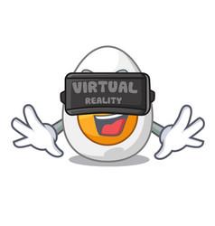 Virtual reality peeled boiled egg on mascot vector