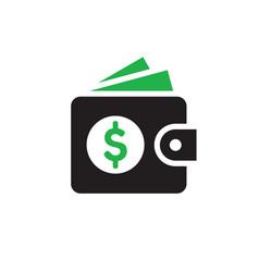 wallet with dollar money - web icon design vector image