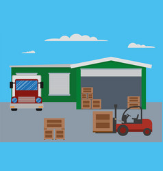 warehouse building and shipping process vector image vector image