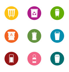 waste matter icons set flat style vector image