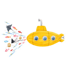 Watercolor submarine vector
