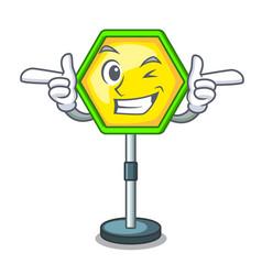 Wink cartoon traffic sign on traffic road vector