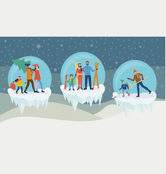 winter holiday activities in ice balls vector image