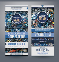 winter sport hand drawn doodle banners set vector image