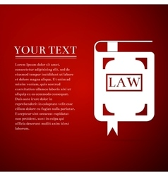 Law book flat icon on red background vector
