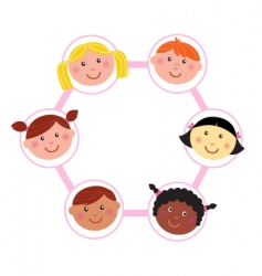 multicultural unity kids heads vector image vector image