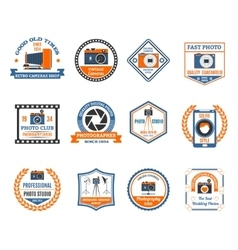 Photography emblems set vector