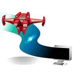 Spaceship flying out of the computer vector image