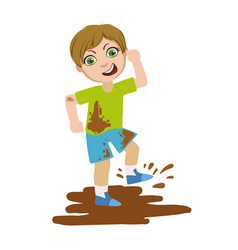 boy jumping in dirt part of bad kids behavior and vector image