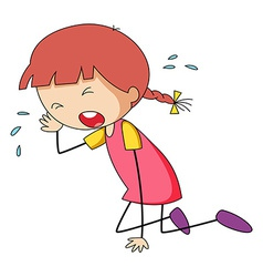 Girl crying vector image vector image