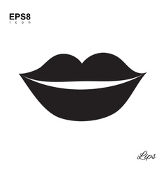 Lips Black Icon Isolated vector image