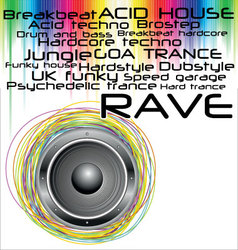 rave music genres background vector image