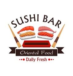Sushi bar menu card design emblem vector image