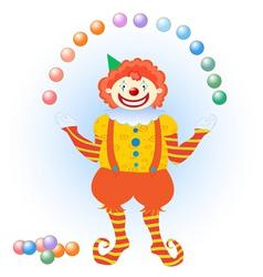 clown juggling colorful balls vector image vector image