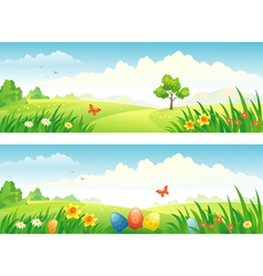 Easter and spring banners vector image