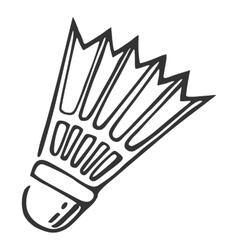 Hand drawn nylon shuttlecock vector