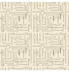 Medieval weaponry linear set seamless texture vector image vector image