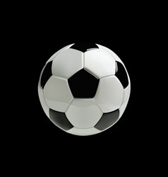 realistic soccer ball on black background vector image vector image
