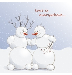 cute amorous snowmen under vector image vector image