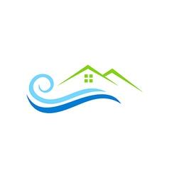 house water beach abstract logo vector image vector image