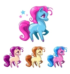 Little cartoon horses vector image vector image