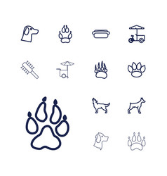 13 dog icons vector