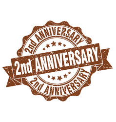 2nd anniversary stamp sign seal vector