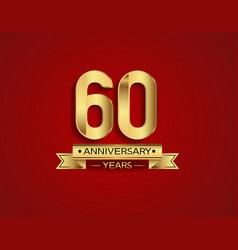 60 years anniversary golden design color vector