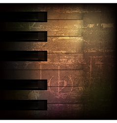 Abstract brown grunge music background with piano vector