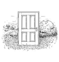 Artistic drawing of closed door in beautiful vector